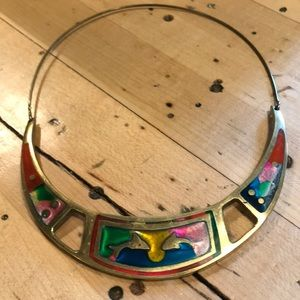 Stunning vintage brass and abalone collar
